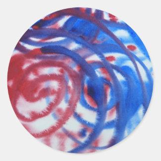 赤い、青は薄い灰色で渦巻きます。 抽象的なパターン ラウンドシール