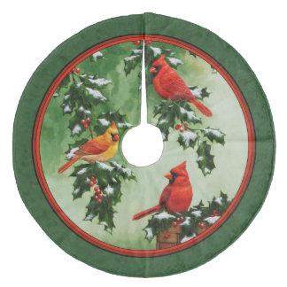 赤い(鳥)ショウジョウコウカンチョウおよびヒイラギの緑 フリース ツリースカート
