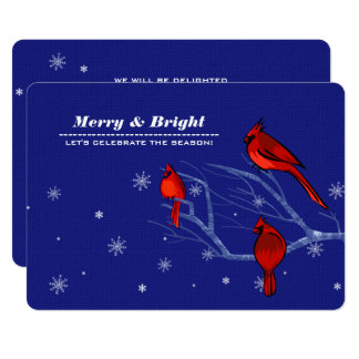赤い(鳥)ショウジョウコウカンチョウのカスタムなクリスマスのパーティの招待状 カード