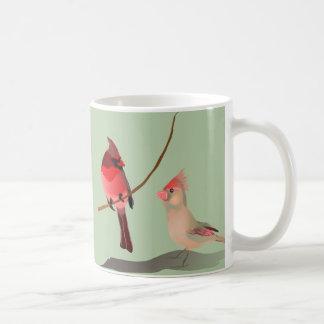 赤い(鳥)ショウジョウコウカンチョウの冬の鳥 コーヒーマグカップ