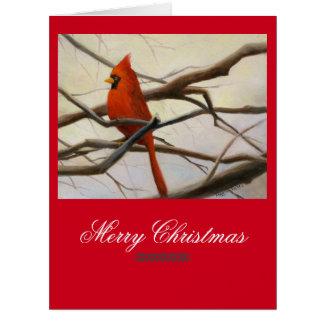 赤い(鳥)ショウジョウコウカンチョウ及びクリスマスの詩歌 カード