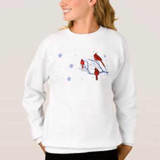 赤い(鳥)ショウジョウコウカンチョウ。 クリスマスのギフトはスエットシャツをからかいます スウェットシャツ
