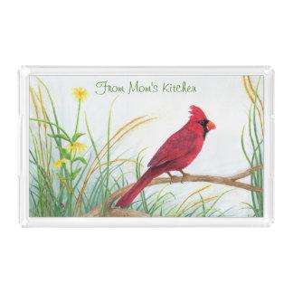 赤い(鳥)ショウジョウコウカンチョウ-トレイ アクリルトレー