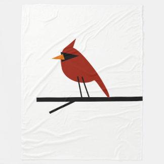 赤い(鳥)ショウジョウコウカンチョウ フリースブランケット