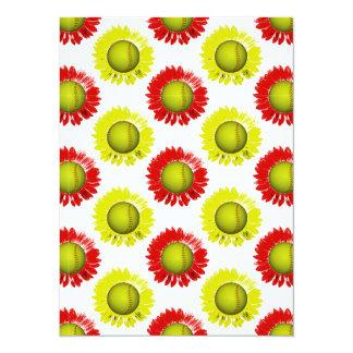 赤い|黄色|ソフトボール|花|パターン 14 X 19.1 インビテーションカード