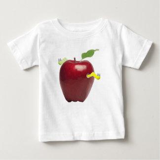 赤いAppleのかわいく小さいみみず ベビーTシャツ
