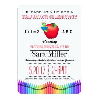 赤いAppleのクレヨンの先生の卒業の招待状 カード