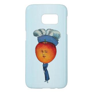赤いAppleの頭部の顔を搭載するかわいらしい女性青い服 Samsung Galaxy S7 ケース