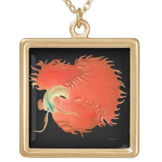 赤いBettaの戦いの魚のネックレス ゴールドプレートネックレス