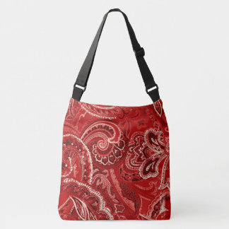 赤いBohoのシックなレトロの腰回りが大きなペイズリーのバンダナ クロスボディバッグ