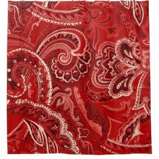 赤いBohoのシックなレトロの腰回りが大きなペイズリーのバンダナ シャワーカーテン