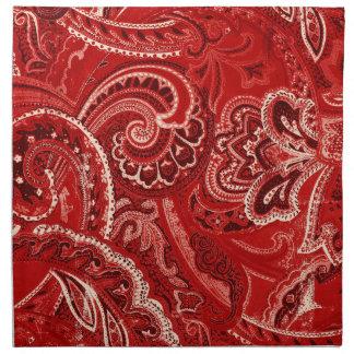 赤いBohoのシックなレトロの腰回りが大きなペイズリーのバンダナ ナプキンクロス
