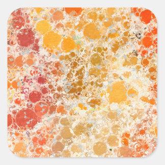 赤いBubblicious XIおよびオレンジの抽象芸術 スクエアシール