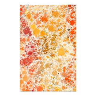 赤いBubblicious XIおよびオレンジの抽象芸術 便箋