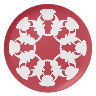 赤いBullの雪片デザインのクッキーのプレート プレート