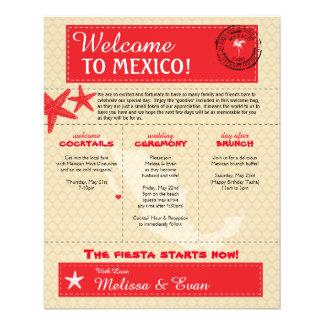 赤いCaboメキシコの結婚式の歓迎の手紙 チラシ