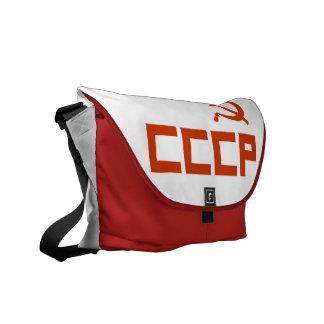 赤いCCCPのソ連国旗 メッセンジャーバッグ
