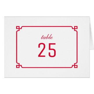 赤いDecoのシックなテーブル数 グリーティングカード