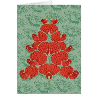 赤いDecoの花のクリスマスツリー カード