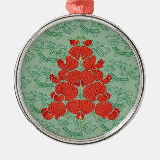 赤いDecoの花のクリスマスツリー メタルオーナメント