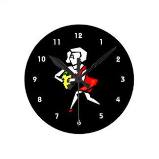 赤いdress.pngの女性の手元にふりかけて下さい ラウンド壁時計