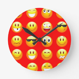赤いemojis ラウンド壁時計