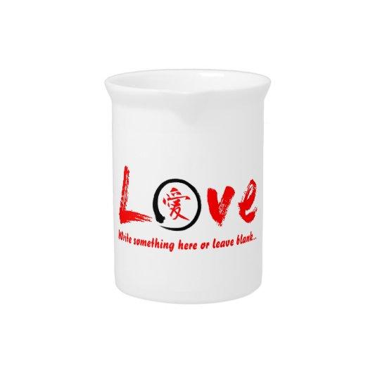 赤いensoの禅の円、愛のための日本のな記号 ピッチャー