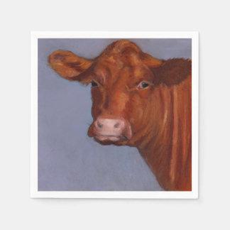 赤いHerefordの肉用牛の油のパステル調の絵画 スタンダードカクテルナプキン