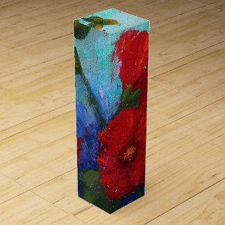赤いHollyhocksのワイン用化粧箱 ワインギフトボックス