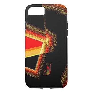 赤いiPhone 7の箱で幾何学的なモノグラム iPhone 8/7ケース