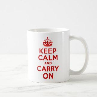 赤いKeep Calm and Carry On コーヒーマグカップ