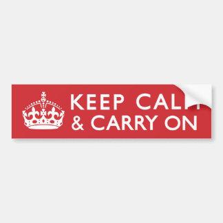 赤いKeep Calm and Carry On バンパーステッカー