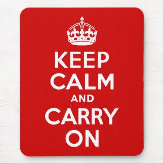 赤いKeep Calm and Carry On マウスパッド