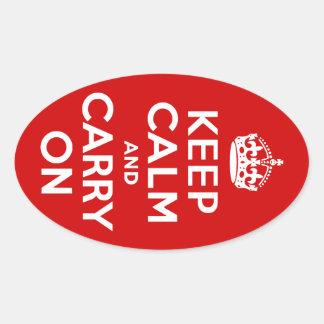 赤いKeep Calm and Carry On 楕円形シール