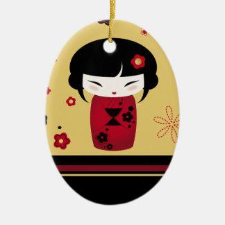 赤いKokeshi セラミックオーナメント