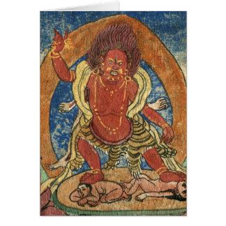 赤いMahakala、C16thのチベット語 カード