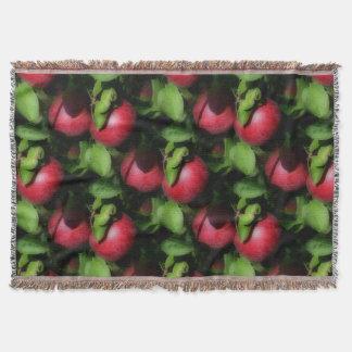 赤いMcIntoshのりんごの自然の芸術パターン スローブランケット