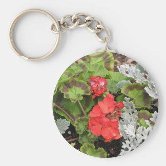 赤いnの白い花 キーホルダー