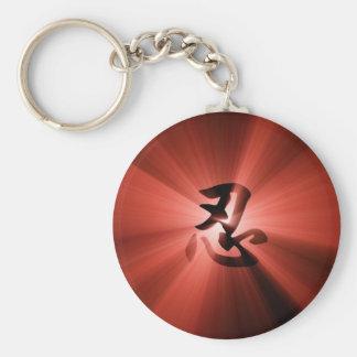 赤いNINの漢字の星の破烈の円形のキーホルダー キーホルダー