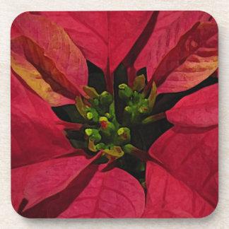 赤いPointsettia コースター
