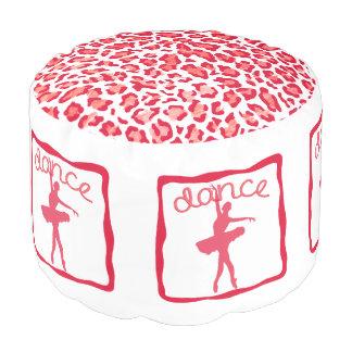 赤いPoufのチータのプリントのダンス プーフ