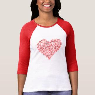 赤いRaglanのTシャツのバレンタインデー愛して下さい Tシャツ