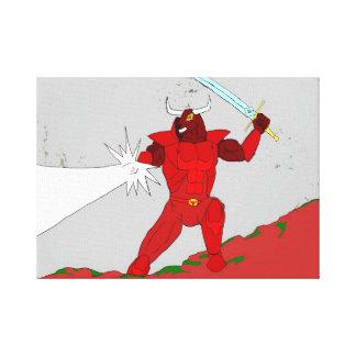 赤いRhok Minotaurの騎士キャンバス キャンバスプリント