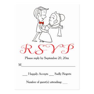 赤いRSVPの花嫁及び新郎の白黒結婚式 ポストカード