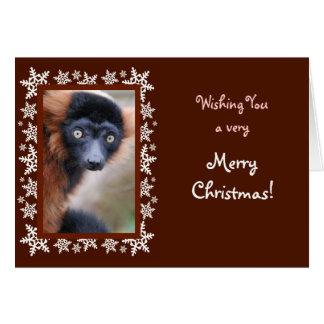 赤いRuffedのLemurのクリスマスカード カード