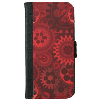 赤いSteampunk iPhone 6/6s ウォレットケース