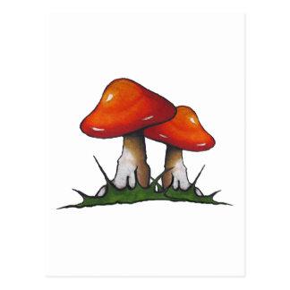 赤いToadstools、きのこ: 手で描いたマーカーの芸術 ポストカード