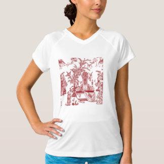 赤いToileパターンデザイン Tシャツ