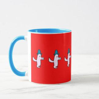 赤いTroisのかわいい飛ぶ鳥 マグカップ