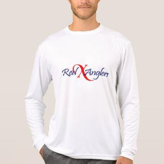 赤いXの釣り人のロゴのスポーツのtekの長い袖T Tシャツ